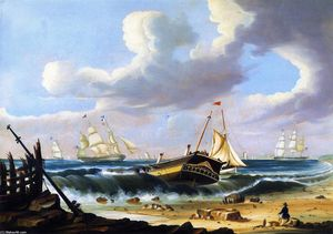 Thomas Chambers - Rockaway Beach, New York, with the Wreck of the Ship Bristol