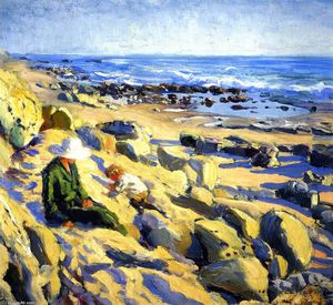 Joseph Kleitsch - Rocky Cliffs, Laguna (also known as Edna and Eugene)