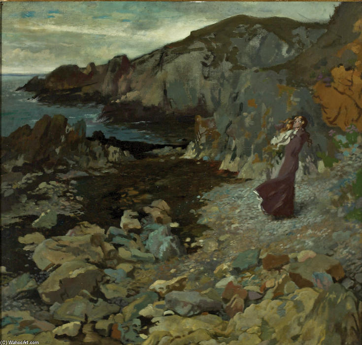 Rocky Coast Scene at Howth, Oil On Canvas by William Newenham Montague Orpen (1878-1931, Ireland)