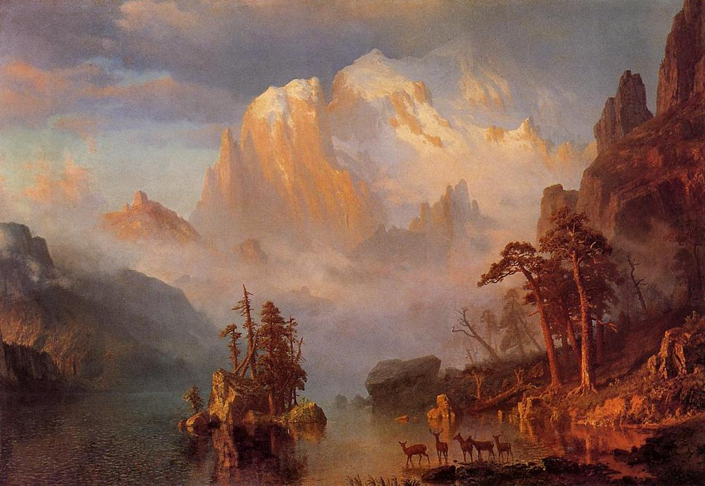 Rocky Mountains, Oil On Canvas by Albert Bierstadt (1830-1902, Germany)