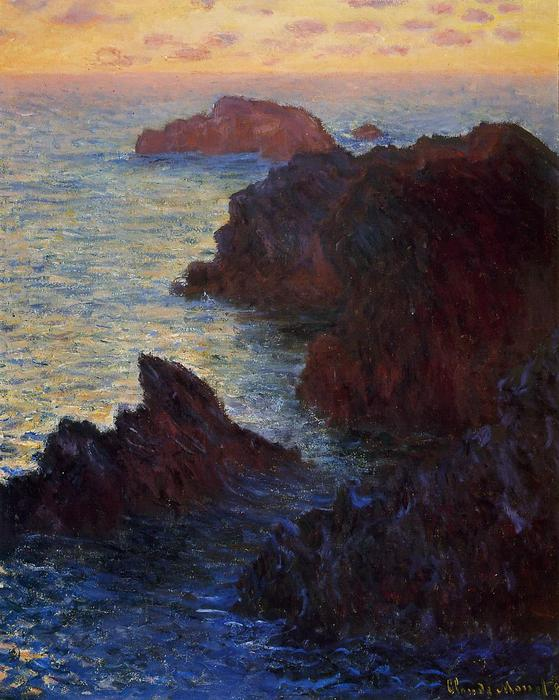 Rocky Point at Port-Goulphar, 1886 by Claude Monet (1840-1926, France) | Art Reproductions Claude Monet | WahooArt.com