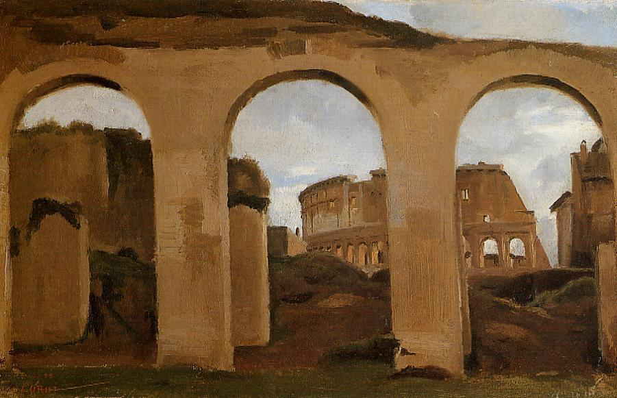 Rome - The Coliseum Seen through Arches of the Basilica of Constantine, Oil On Canvas by Jean Baptiste Camille Corot (1796-1875, France)