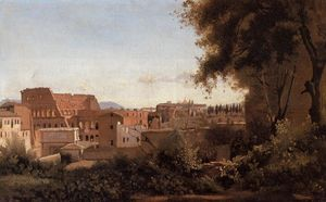 Jean Baptiste Camille Corot - Rome - View from the Farnese Gardens, Noon (also known as Study of the Coliseum)