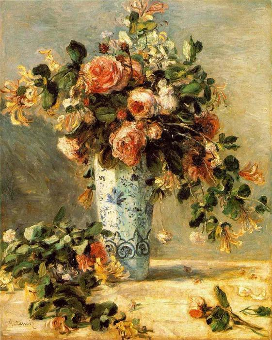 Roses and Jasmine in a Delft Vase, 1881 by Pierre-Auguste Renoir (1841-1919, France) | Painting Copy | WahooArt.com