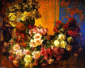 Franz Bischoff - Roses and Lilies