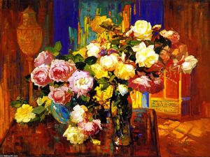 Franz Bischoff - Roses in a aTall Glass