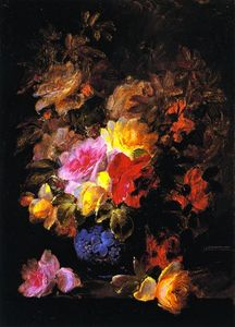 Raoul De Longpre - Roses in Pinks and Yellows