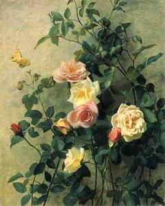 George Cochran Lambdin - Roses on a Wall