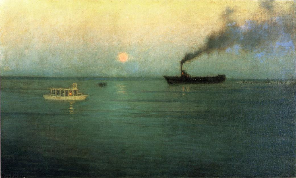 Rosy Moon off Charles Harbor, Painting by Lowell Birge Harrison (1854-1929, United States)