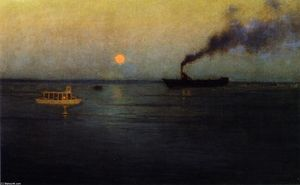 Lowell Birge Harrison - Rosy Moon off Charleston Harbor