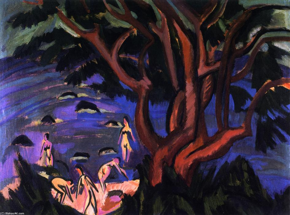 Roter Baum am Strand, Oil On Panel by Ernst Ludwig Kirchner (1880-1938, Germany)