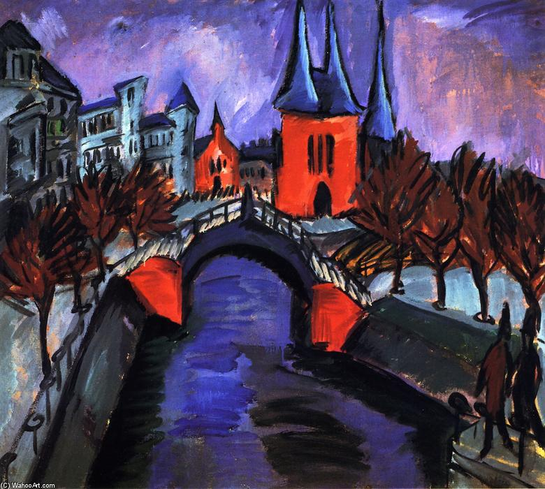 Rotes Eilsabethufer, Berlin, Oil On Canvas by Ernst Ludwig Kirchner (1880-1938, Germany)