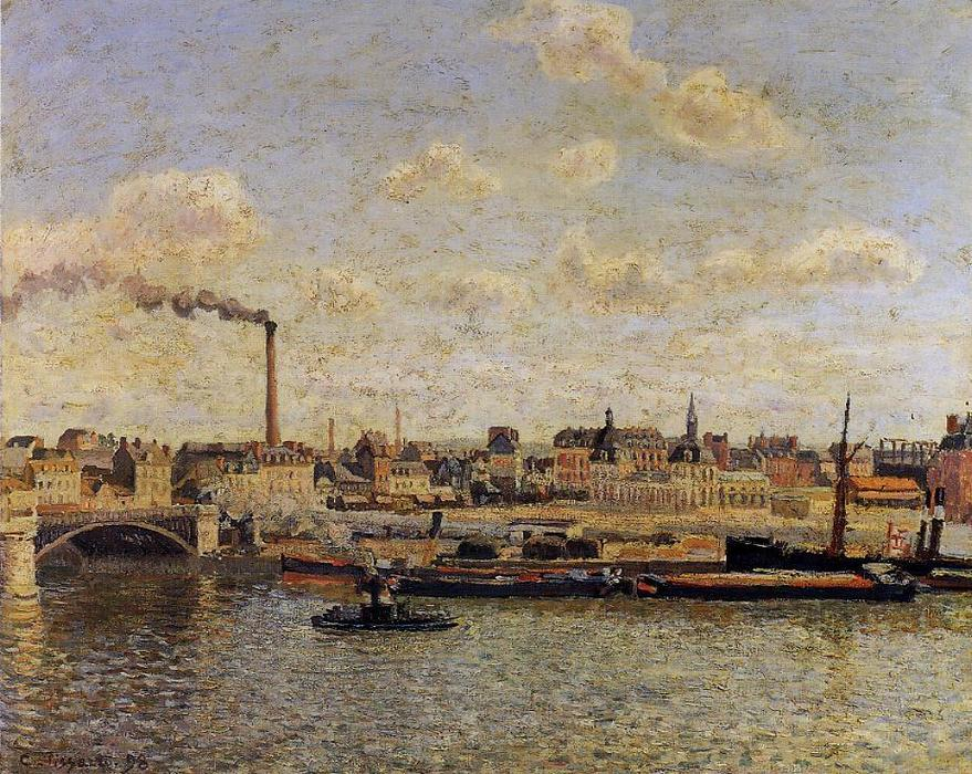 Order Paintings Reproductions | Rouen, Saint-Sever: Afternoon, 1898 by Camille Pissarro (1830-1903, United States) | WahooArt.com