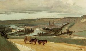Jean Baptiste Camille Corot - Rouen Seen from Hills Overlooking the City