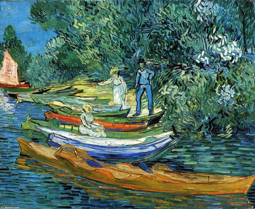 Rowing Boats on the Banks of the Oise, 1890 by Vincent Van Gogh (1853-1890, Netherlands) | Reproductions Vincent Van Gogh | WahooArt.com