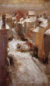 James Ensor - Rue de Flandre in the Snow