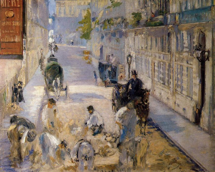 Rue Mosnier with Road Menders, Oil On Canvas by Edouard Manet (1832-1883, France)
