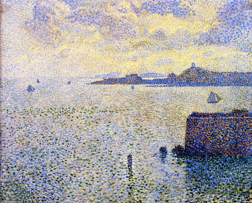 Sailboats and Estuary, Oil On Canvas by Theo Van Rysselberghe (1862-1926, Belgium)