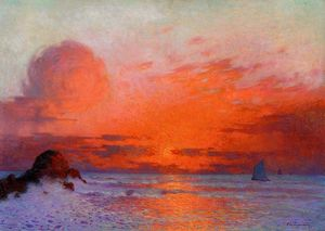 Ferdinand Du Puigaudeau - Sailboats at Sunset (also known as Sun Setting on the Sea)