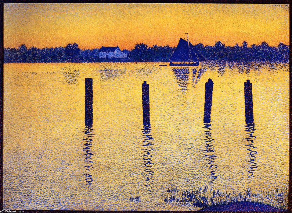 Sailboats on the River Scheldt, Oil On Canvas by Theo Van Rysselberghe (1862-1926, Belgium)