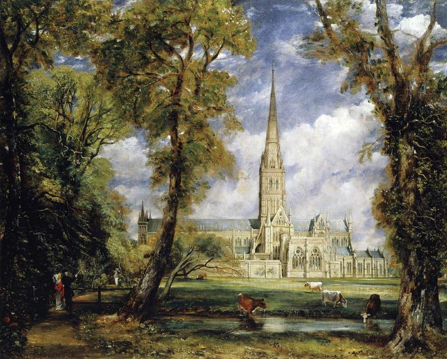 Order Art Reproductions | Salisbury Cathedral from the Bishop`s Garden by John Constable (1776-1837, United Kingdom) | WahooArt.com