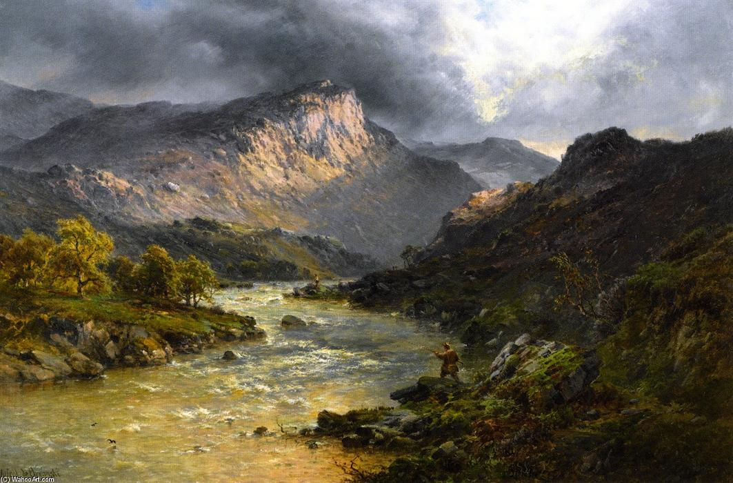 A Salmon Trout Stream, Cader Idris, North Wales by Alfred De Breanski Senior (1852-1928, United Kingdom) | Famous Paintings Reproductions | WahooArt.com