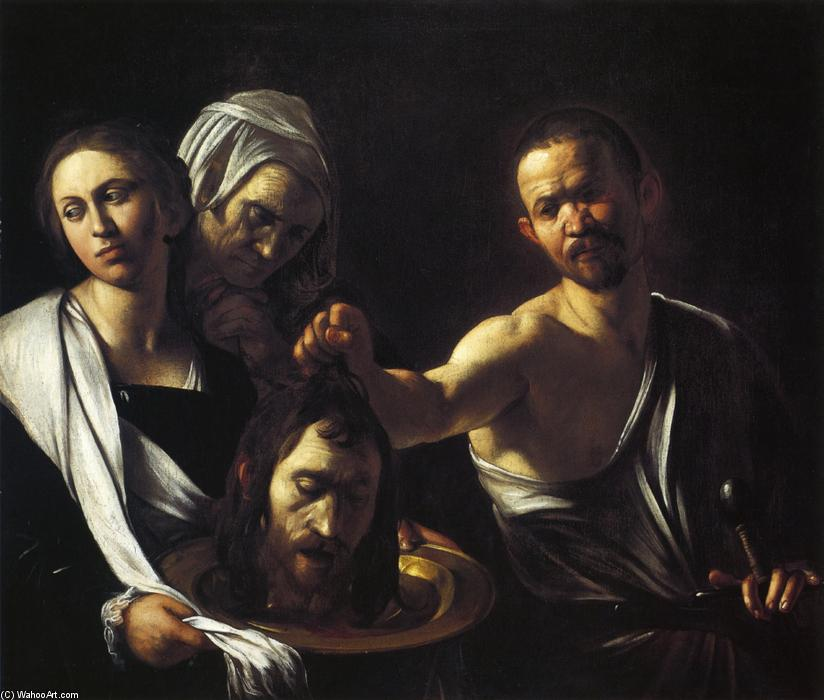 Salome with the Head of St. John the Baptist, 1607 by Caravaggio (Michelangelo Merisi) (1571-1610, Spain) | Oil Painting | WahooArt.com