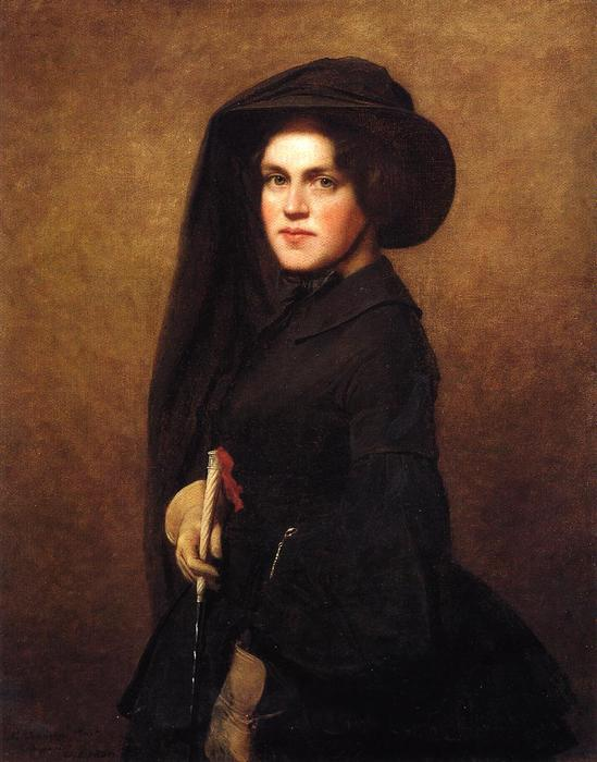 Sarah Osgood Johnson Newton, Oil On Canvas by Jonathan Eastman Johnson (1824-1906, United Kingdom)