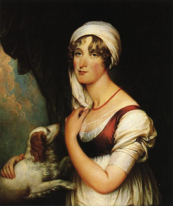 Sarah Trumbull with a Spaniel, Oil On Canvas by John Trumbull (1756-1843, United Kingdom)