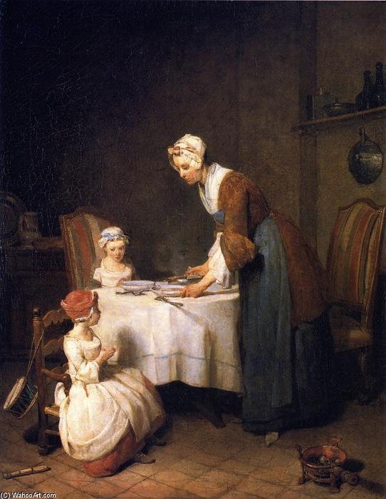 Order Reproductions | Saying Grace, 1740 by Jean-Baptiste Simeon Chardin (1699-1779, France) | WahooArt.com