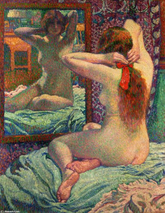 The Scarlet Ribbon, 1906 by Theo Van Rysselberghe (1862-1926, Belgium) | Painting Copy | WahooArt.com
