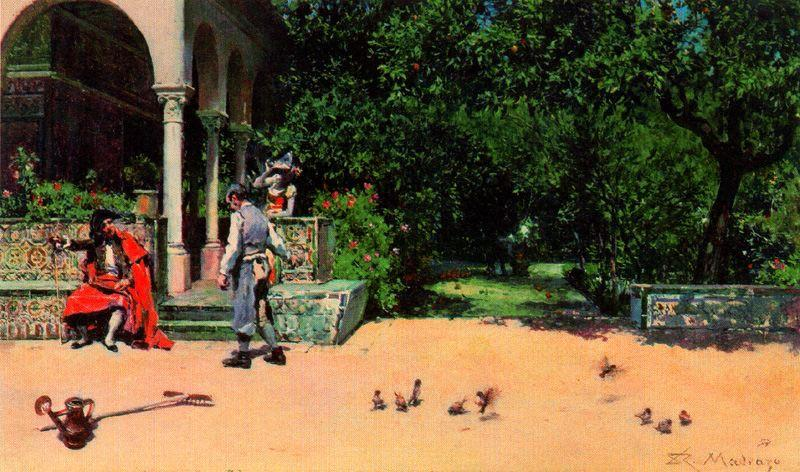 Scene in the gardens of the Alcazar of Seville, 1868 by Raimundo De Madrazo Y Garreta (1841-1920, Italy) | Painting Copy | WahooArt.com