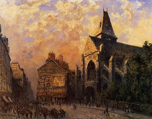 Frank Myers Boggs - Scene of a Street in front of the Church of Saint-Medard, Paris