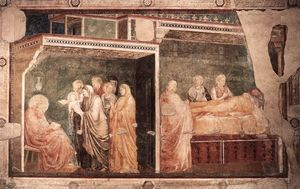 Giotto Di Bondone - Scenes from the Life of St John the Baptist: 2. Birth and Naming of the Baptist (Peruzzi Chapel, Santa Croce, Florence)