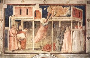 Giotto Di Bondone - Scenes from the Life of St John the Evangelist: 3. Ascension of the Evangelist (Peruzzi Chapel, Santa Croce, Florence)