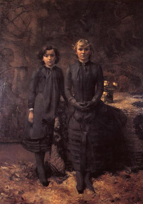 The Schlobach Sisters, Oil On Canvas by Theo Van Rysselberghe (1862-1926, Belgium)