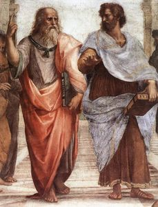 Raphael (Raffaello Sanzio Da Urbino) - The School of Athens (detail 1) (Stanza della Segnatura) - (Famous paintings)