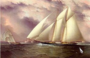 James Edward Buttersworth - Schooner Racing off New York Harbor