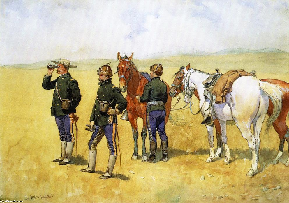 The Scouting Party, Watercolour by Frederic Remington (1861-1909, United States)