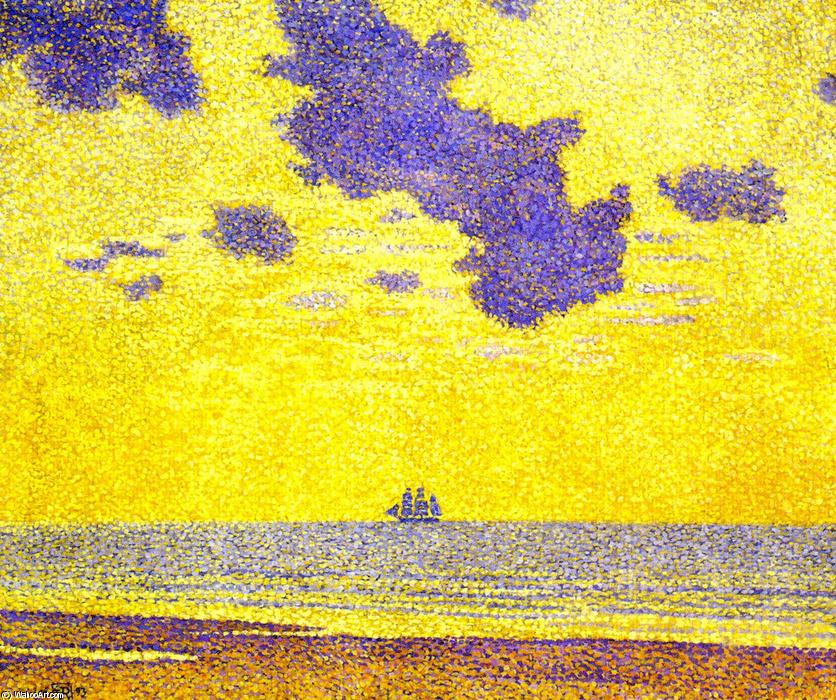 Seascape, Oil On Canvas by Theo Van Rysselberghe (1862-1926, Belgium)