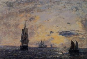 Eugène Louis Boudin - Seascape, Fishing Boats