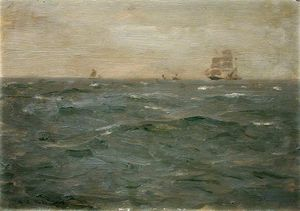 Henry Scott Tuke - Seascape with Sailing Craft