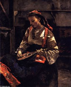 Jean Baptiste Camille Corot - Seated Italian Woman Playing a Mandolin in Corot's Studio