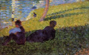 Georges Pierre Seurat - Seated Man, Reclining Woman