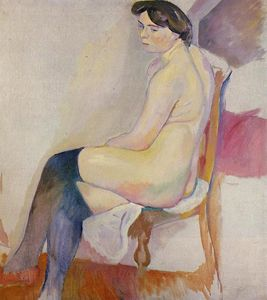 Julius Mordecai Pincas - Seated Nude with Black Stockings