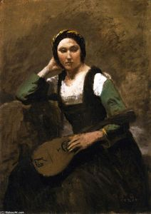 Jean Baptiste Camille Corot - Seated Young Woman with Mandolin
