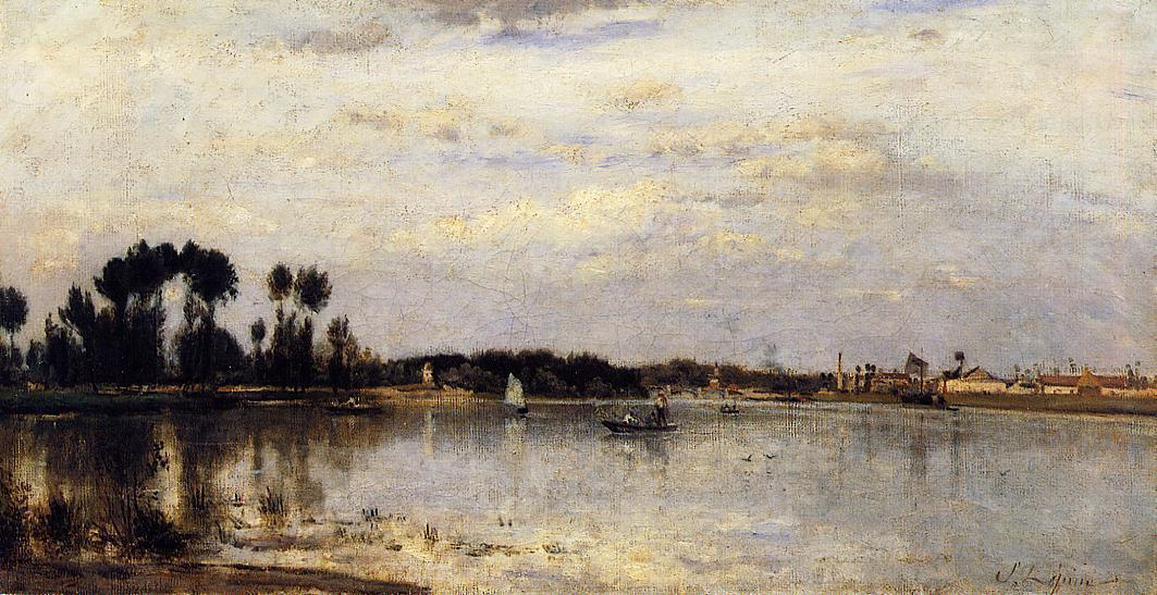The Seine at Ile Saint-Denis, 1877 by Stanislas Lepine (1835-1892, France) | Paintings Reproductions Stanislas Lepine | WahooArt.com