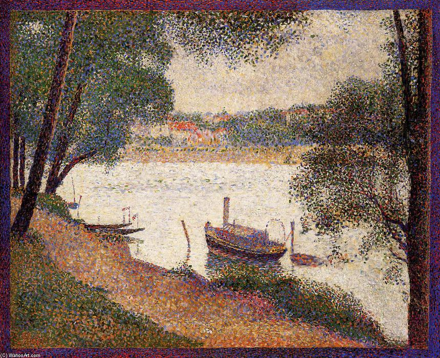 The Seine at La Grande Jatte in the Spring, 1888 by Georges Pierre Seurat (1859-1891, France) | Museum Quality Reproductions | WahooArt.com