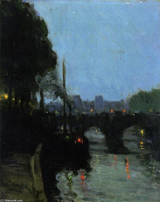 The Seine - Evening, 1900 by Henry Ossawa Tanner (1859-1937, United States) | Oil Painting | WahooArt.com