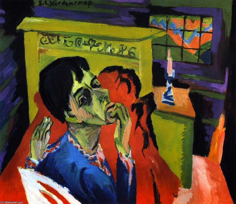 Selbstbildnis als Kranker, Oil On Canvas by Ernst Ludwig Kirchner (1880-1938, Germany)